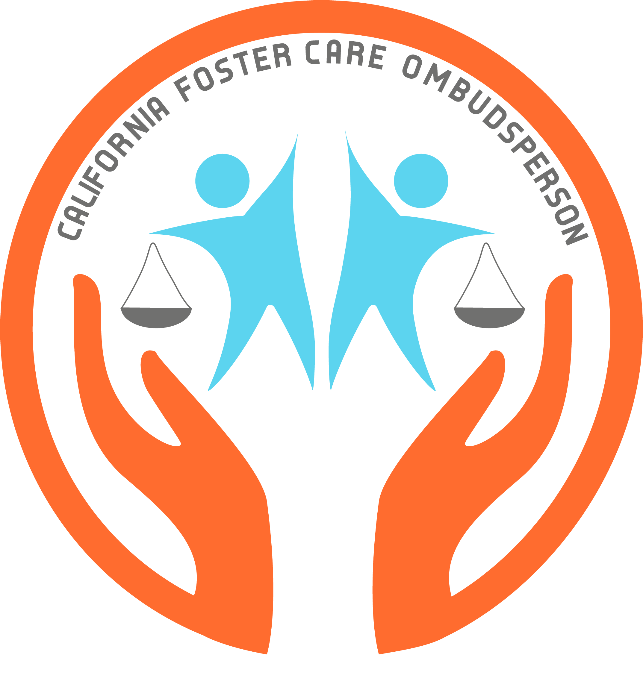 "A pair of orange hands hold up back-to-black blue figures that carry scales. The words ""California Foster Care Ombudsperson"" are at the top."